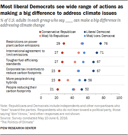 Most liberal Democrats see wide range of actions as making a big difference to address climate issues