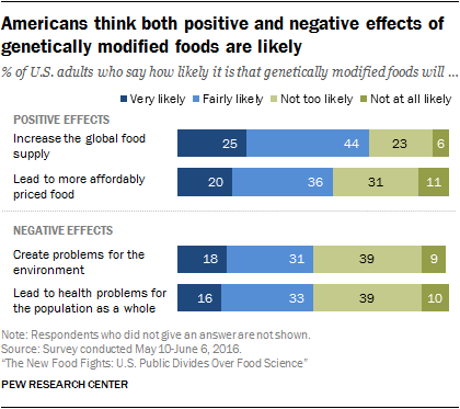 Americans think both positive and negative effects of genetically modified foods are likely
