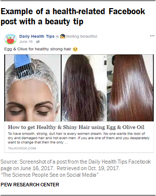 Example of a health-related Facebook post with a beauty tip
