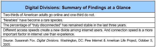 Digital Divisions: Summary of Findings at a Glance