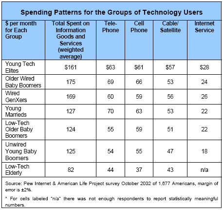 Spending Patterns for the Groups of Technology Users
