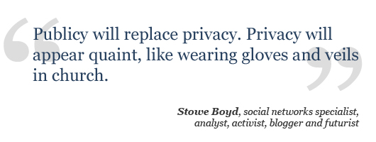 Publicy will replace privacy. Privacy will appear quaint, like wearing gloves and veils in church.