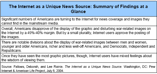 The Internet as a Unique News Source: Summary of Findings at a Glance