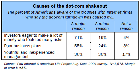 Causes of the dot-com shakeout