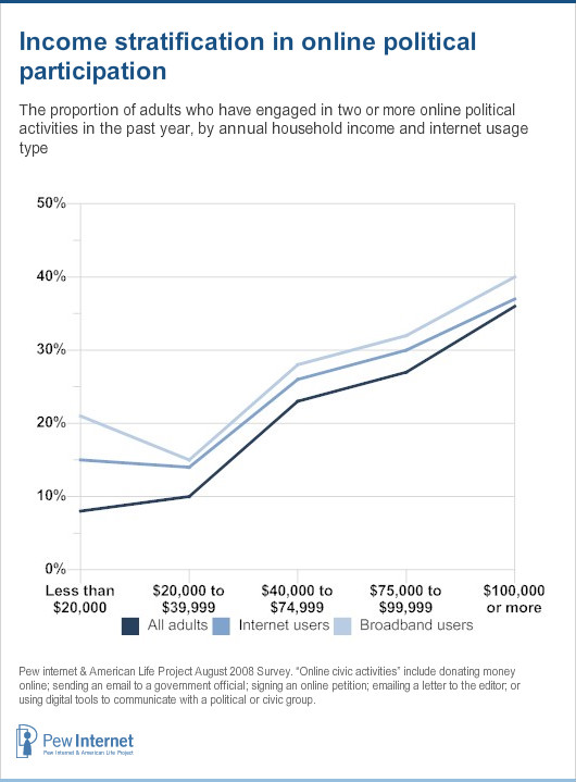 Online participation by income