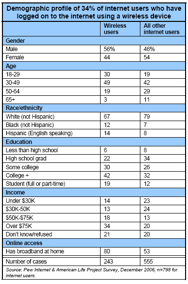 Demographic profile of wireless users